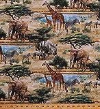 Cotton African Safari Animals Giraffes Elephants Rhinos Lions Zebras Hippos Wildlife Trees Stonehenge Savanna Digitally Printed Tan Cotton Fabric Print by The Yard (D378.30)