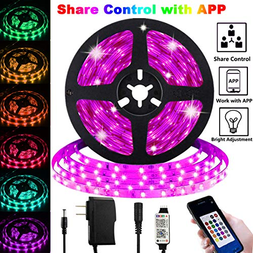 LED Strip Lights, Share Control with APP 16.4ft/5m Plug in RGB Color Changing Lighting 150 LED 5050 Strip Tape Light Share Control with Bluetooth Remote Dimmable Mood Lights for Home Decor
