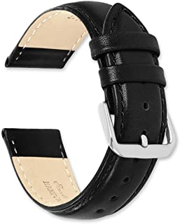 deBeer Brand Smooth Leather Watch Band (Silver or Gold Buckle) - Black 18mm (Extra Long Length)