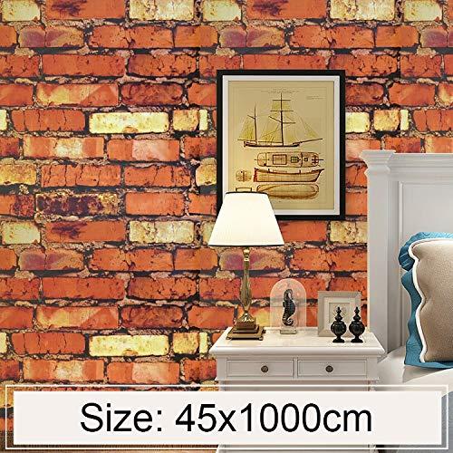 FAMILIE TOOLS & WALLTREATMENTS STICKERS JJRKYY regenboog steen creatieve 3D Stone Brick Decoratie behang sticker slaapkamer woonkamer muur waterdicht behang rol grootte: 45
