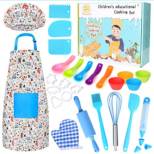 KALUDYA Kids Cooking and Baking Set,37 Pcs Kids Chef Role Play Includes Kids Chef Hat and Apron, Oven Mitt,Cookie Cutters,Junior Cooking Set Kids Gift for 3-8 Year Old Girls,Toddlers,Boys