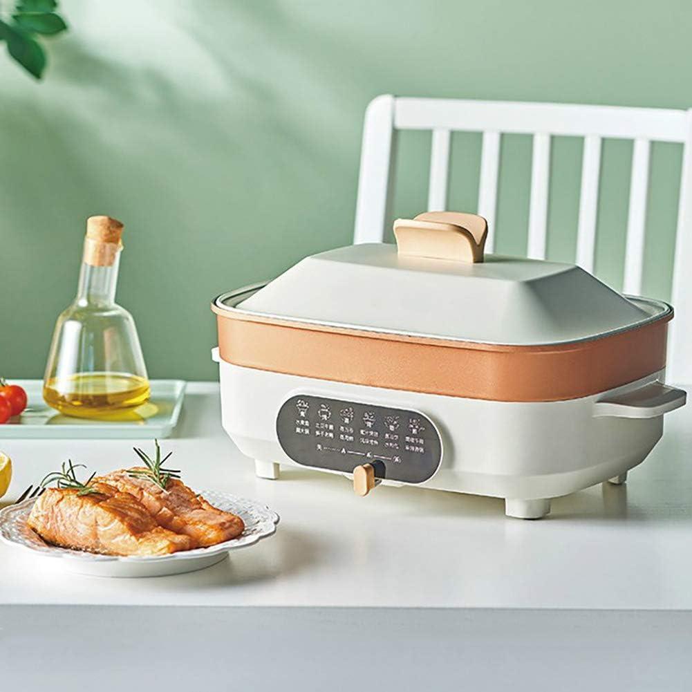 Electric Slow Cooker 5.5L 4-5 Mensen Multibarbecue Cooking Pot Non-Stick Pan Cooker Verdiep Grote Maat,Beige with steamed grid beige With Steamed grid