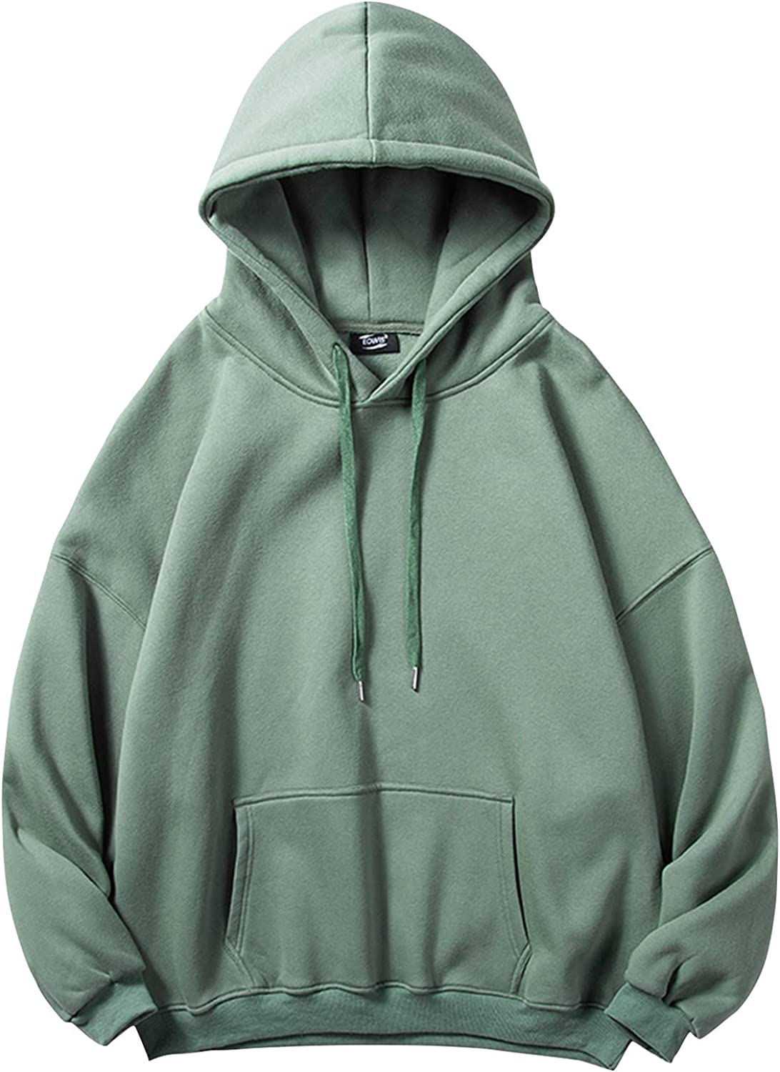 Mens Plus Size Hoodies 5XL Solid Basic Sweatshirts Casual Long Sleeve Hooded Coat Drawstring Workout Outwear with Pocket