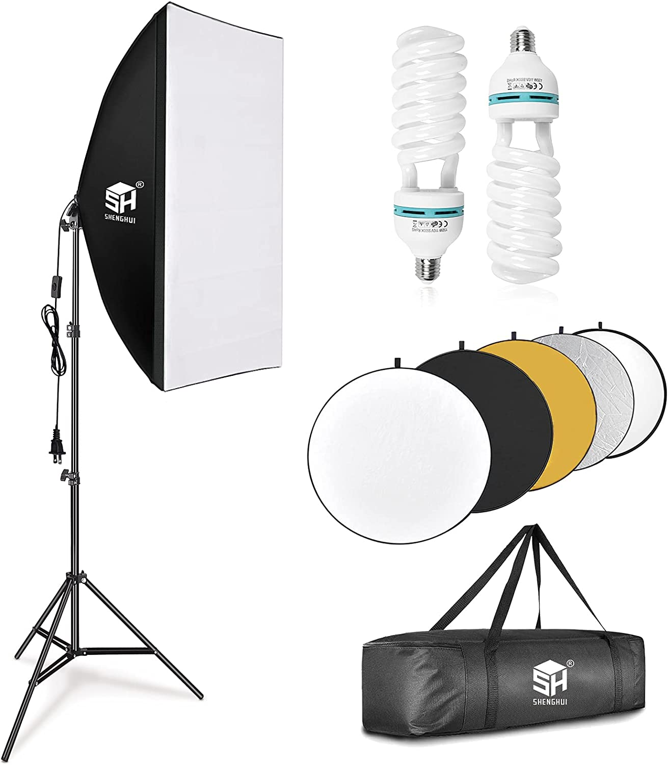 SH 20x28in Photography safety Softbox Lighting 23in OFFicial store Kit 60cm with 5in1