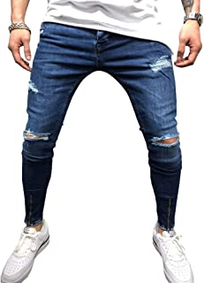 Men's Ripped Skinny Biker Jeans Slim Fit Distressed Destroyed Pants with Zipper