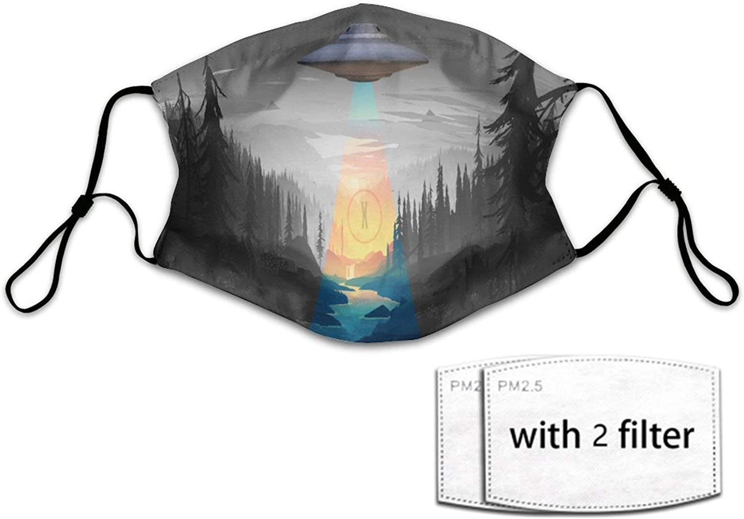 Breathable Flying UFO in Dark Night Tree Cloth Face Balaclava Mask Women Men Half Face Scarf Cover with Adjustable Elastic Strap and 2 Filter Washable & Windproof USA Size