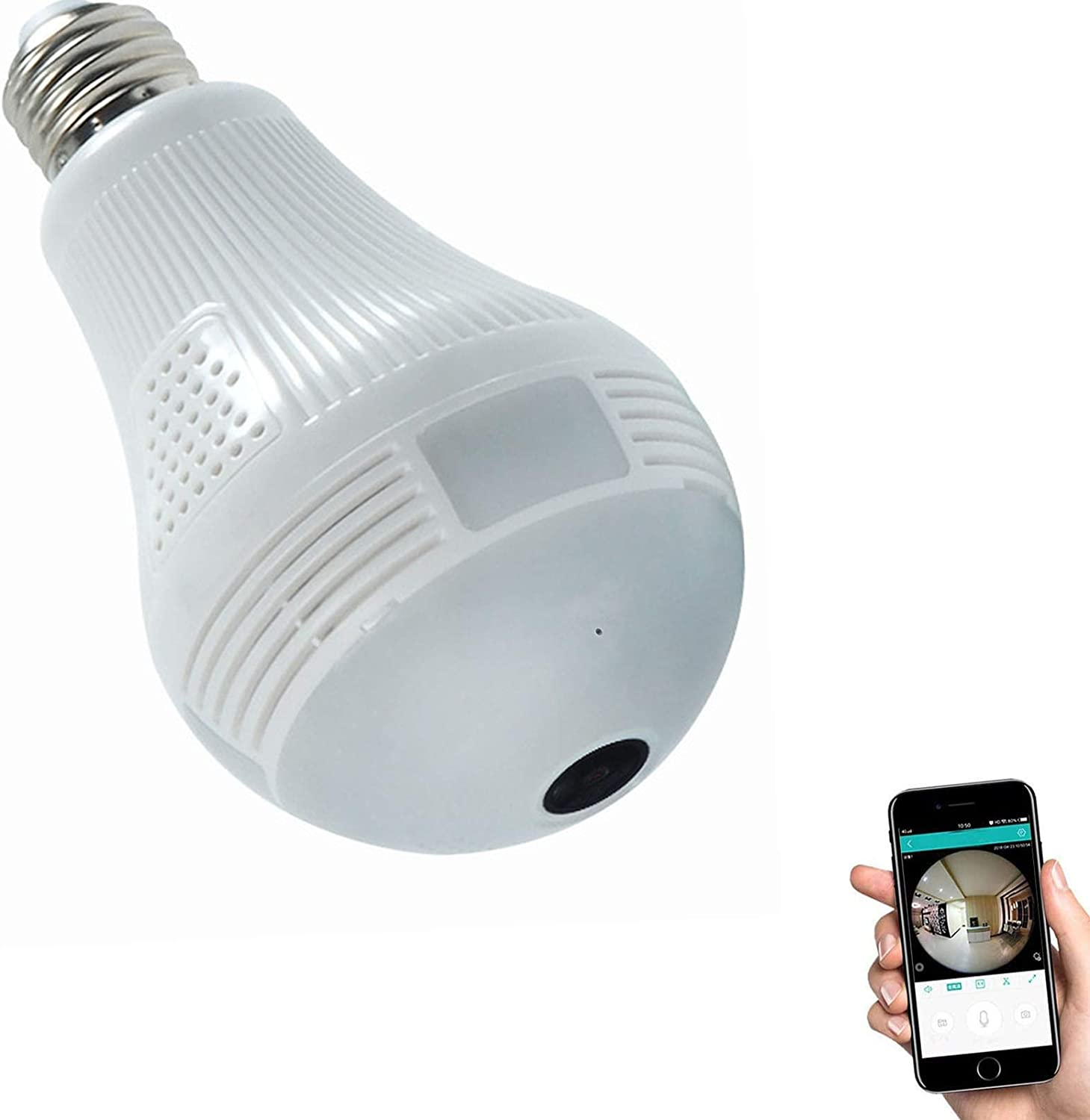 HD 1080P Light Bulb Camera, Include 16GB Card 2.4GHz Wireless Security IP, 360 Degrees Panoramic VR Home Surveillance Dome Cam, with Night Vision Motion Detection Alarm for Baby Office Pet (1080P)