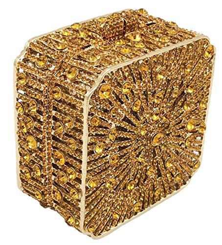 ZHBD Bolsa De Embrague De La Noche De Cristal, Diamantes De Imitación Hechos A Mano, Monedero Cuadrado De Metal para Bodas De Boda De Dama De Honor Bolsas De Noche,Oro