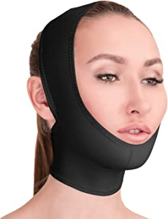 Post Surgical Chin Strap Bandage for Women - Neck and Chin Compression Garment Wrap - Face Slimmer, Jowl Tightening, Chin Lifting Medical Anti Aging Mask (Black, S)