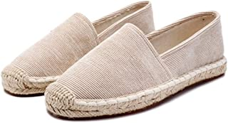 Women Espadrilles Jute Sole Summer Slip On Solid Color Concise Style Casual Shoes Female Flat Canvas Shoes
