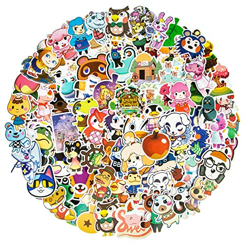 100Pcs Cute Animal Crossing Stickers for Kids Teens, Kawaii Cartoon Game Stickers Waterproof Vinyl Laptop Stickers for Water Bottles Guitar Computer iPad Skateboard Gifts for Animal Lovers