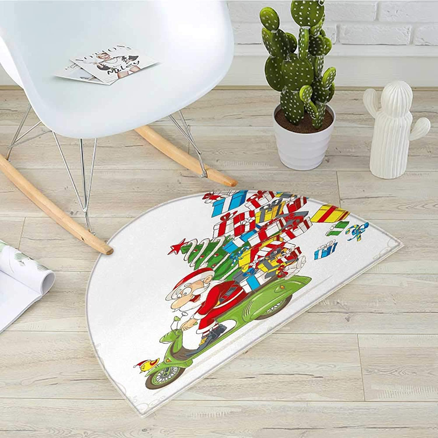 Christmas Semicircle Doormat Santa on Motorbike Scooter with Tree and Gifts Funny Cartoon for Kids Bird Halfmoon doormats H 31.5  xD 47.2  White Green Red