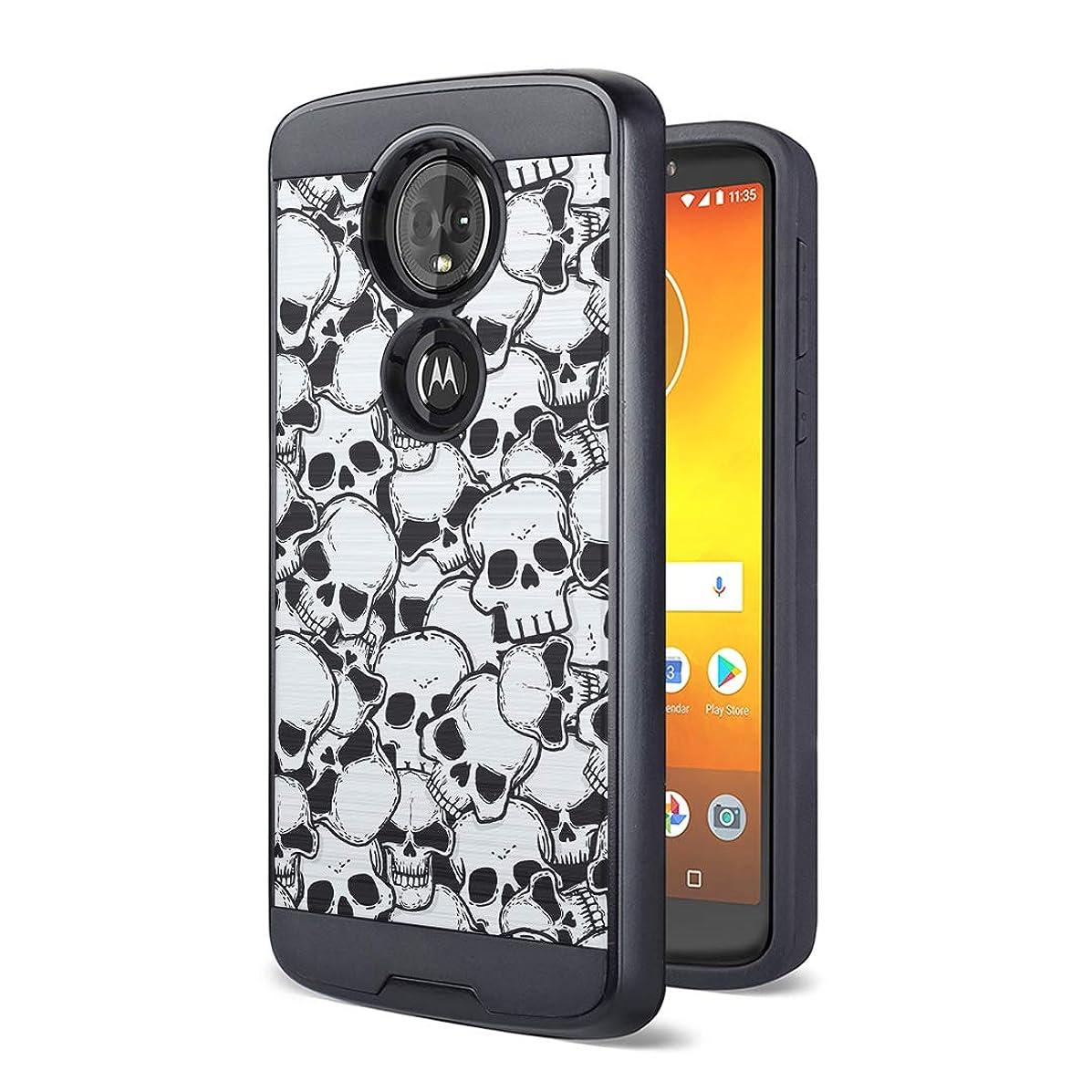 Moriko Case Compatible with Moto G7 Power, Moto G7 Supra [Drop Protection Fusion Dual Layer Slick Armor Case Black] for Motorola Moto G7 Power - (Skull)