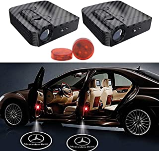 YOJOHUA Wireless Universal LED Car Door Welcome Light Laser Car Door Shadow Led Projector Logo Wireless Welcome Door for Mercedes Benz All Models (2 Pcs Welcome Llight & 2 Pcs Car Door Warning Light)