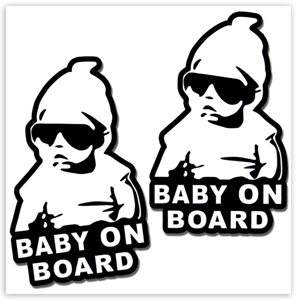2 x Vinyl Self-Adhesive Funny Stickers Hangover Baby on Board Decal Car Window Auto B 167