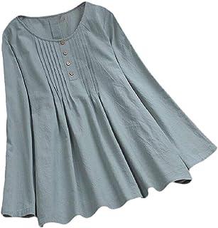 Yeirui Womens Plus Size Cotton Linen Long Sleeve Loose Fit Round Neck Blouse Tops T-Shirt