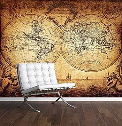 Vintage World Map Mural de pared Papel tapiz fotográfico Papel tapiz 3D de estilo antiguo antiguo Pared Pintado Papel tapiz 3D Decoración dormitorio Fotomural sala sofá pared mural-300cm×210cm