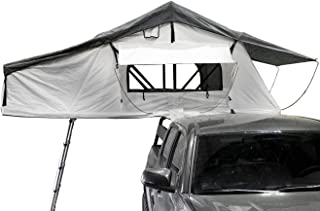 Overland Vehicle Systems Nomadic 3 Extended Roof Top Tent - White Base with Gray Rain Fly & Black Cover Universal