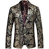 Allthemen Abito da Uomo Casual in Velluto Uomo Slim Fit Floral Prints Stylish Blazer Coats Chic Jackets