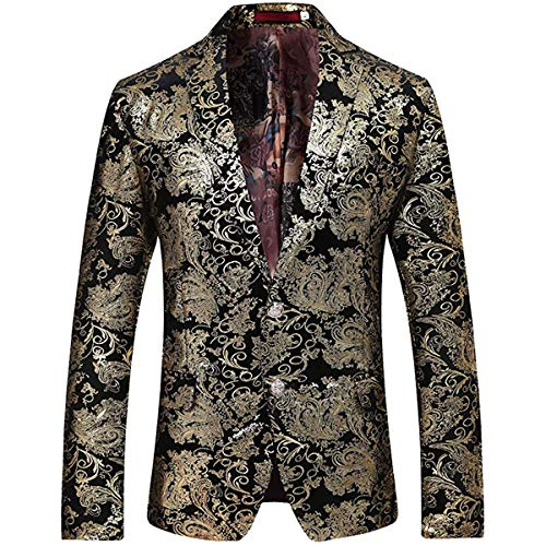 Allthemen Herren Pailletten Sakko Gold Glitzer Blazer Slim Fit Hochzeit Smoking Gold Large
