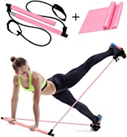 Weychen Pilates Bar Kit with Exercise Resistance Band Portable Yoga Pilates Stick Muscle Toning Bar with Foot Loop for Total Body Workout Home Gym