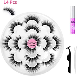 5D Faux Mink Eyelashes Handmade Long and Soft Dramatic Fake Lashes, Wispy Fluffy Multilayer Lashes Reusable, 7 Pairs False Eyelashes with Applicators for Women Natural Makeup