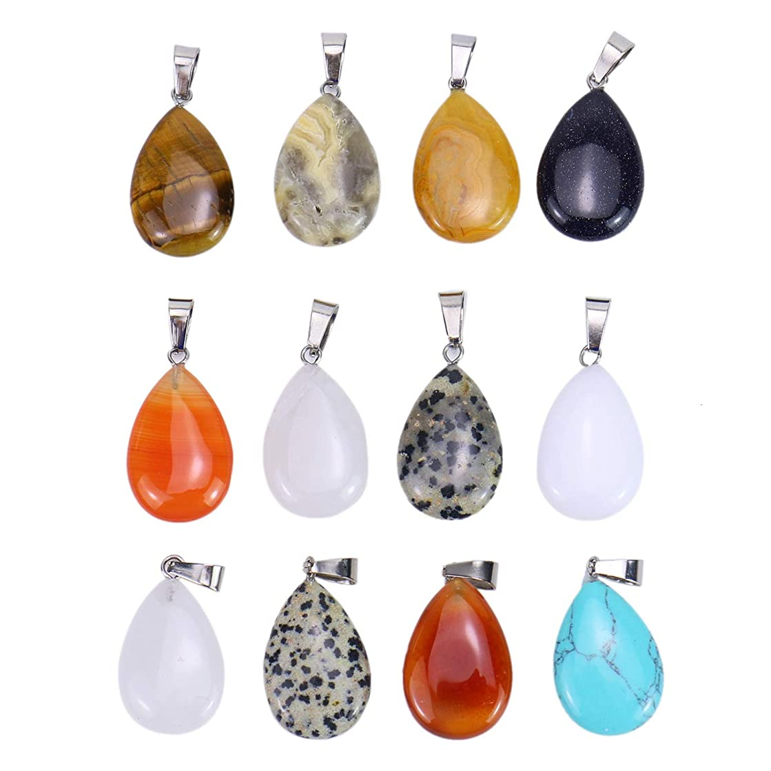 Monrocco 12PCS Assorted Water Drop Shape Healing Chakra Charm Beads Crystal Quartz Stone Pendants for Necklace Jewelry Making (Random Color)