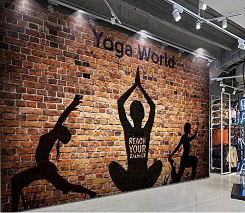 Afashiony Yoga Des Backsteinmauerschattenbildes 3D, Das Wohnzimmersofa Fernsehhintergrund-Wanddekorationswandgemälde, Inneneinrichtung, Tapetenwandgemälde Der Backsteinmauer 3D Bearbeitet-450Cmx300Cm