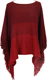 LvRao Womens Stylish Asymmetric Knitted Poncho Cape Round Neck Sweater Shawl Wrap for Spring Autumn