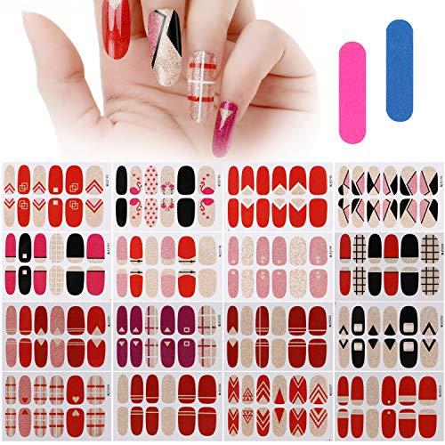 MWOOT 16 Fogli Unghie Adesivi Decalcomanie,Autoadesivo Nail Art Stickers Decals, Adesivo Smalto per Unghie Manicure le Punte Decorazioni