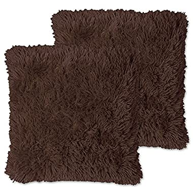 Sweet Home Collection Plush Pillow Faux Fur Soft and Comfy Throw Pillow (2 Pack), Chocolate
