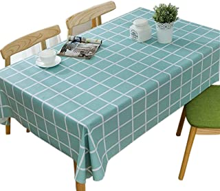 Bringsine Vinyl Rectangle/Oblong Tablecloth PVC Table Cover Oil-Proof/Waterproof Kitchen Dining Tabletop Decoration Protector (53 x 53 Inch)-Green Check
