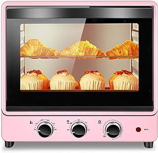 STBD-Mini horno multifunción, capacidad 30L, potencia de cocción de 1500W, revestimiento de aceite fácil de limpiar, bandeja para hornear y parrilla, con lámpara de pared de bajo consumo, rosa