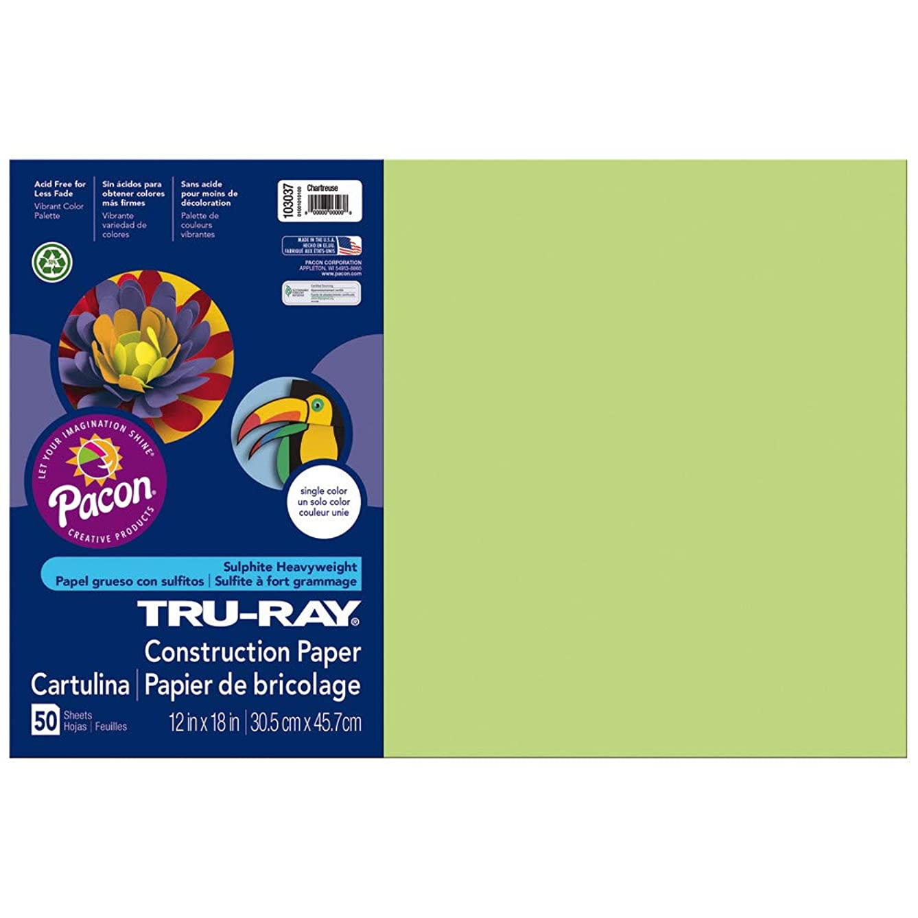 Pacon 103037 Tru-Ray Construction Paper, 12in. x 18in., Chartreuse