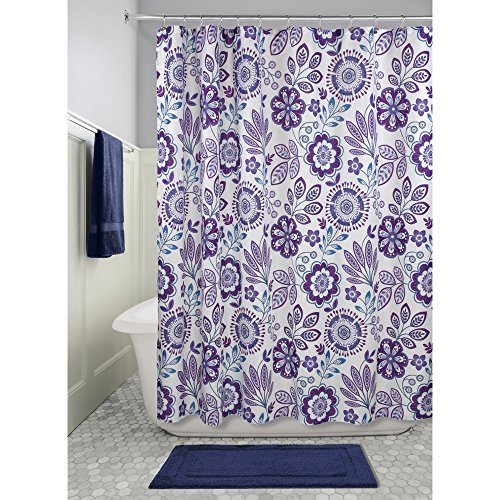 iDesign Luna Floral Fabric Shower Curtain, 72' x 72' - Purple/Blue