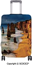 SCOCICI Anti-scratch Baggage Luggage Cover Protector Twelve Apostles Australia Sunset Great Ocean Road Coast Cliff Washed by Sea Surf Picture Multi-function Travel Suitcase Cover (Cover ONLY, Suitcas