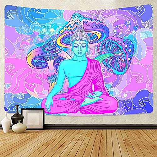 Psychedelic Mandala Tapestry Colorful Mushroom Tapestry Hippie Buddha Tapestry Chakra Trippy Meditation Decor Posters For Room Aesthetic