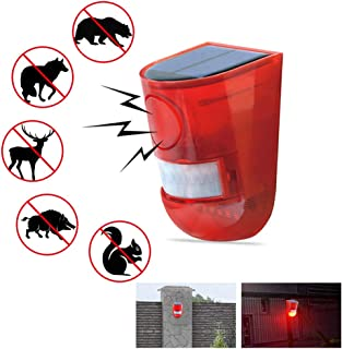 Solar Warning Light Alarm 110dB Siren Sound Strobe Red LED Flash Security System Light Auto Motion Sensor Waterproof Wireless Outdoor Farm Factory Warehouse Orchard Garden Front Door Yard