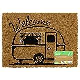 JVL–diseño de Caravana con diseño de Puerta de Entrada Mat-Welcome, 36x 50cm, Fibra de Coco y látex, marrón, 36x 50x 1,5cm