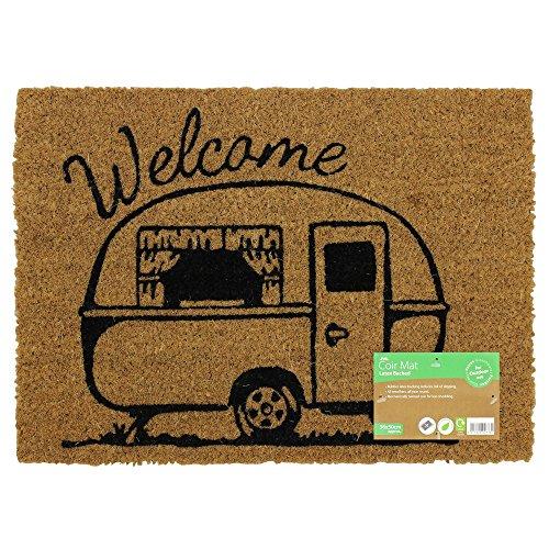 JVL Felpudo de Entrada de Fibra de Fibra de Coco con diseño de Caravana (36 x 50 cm), Color marrón