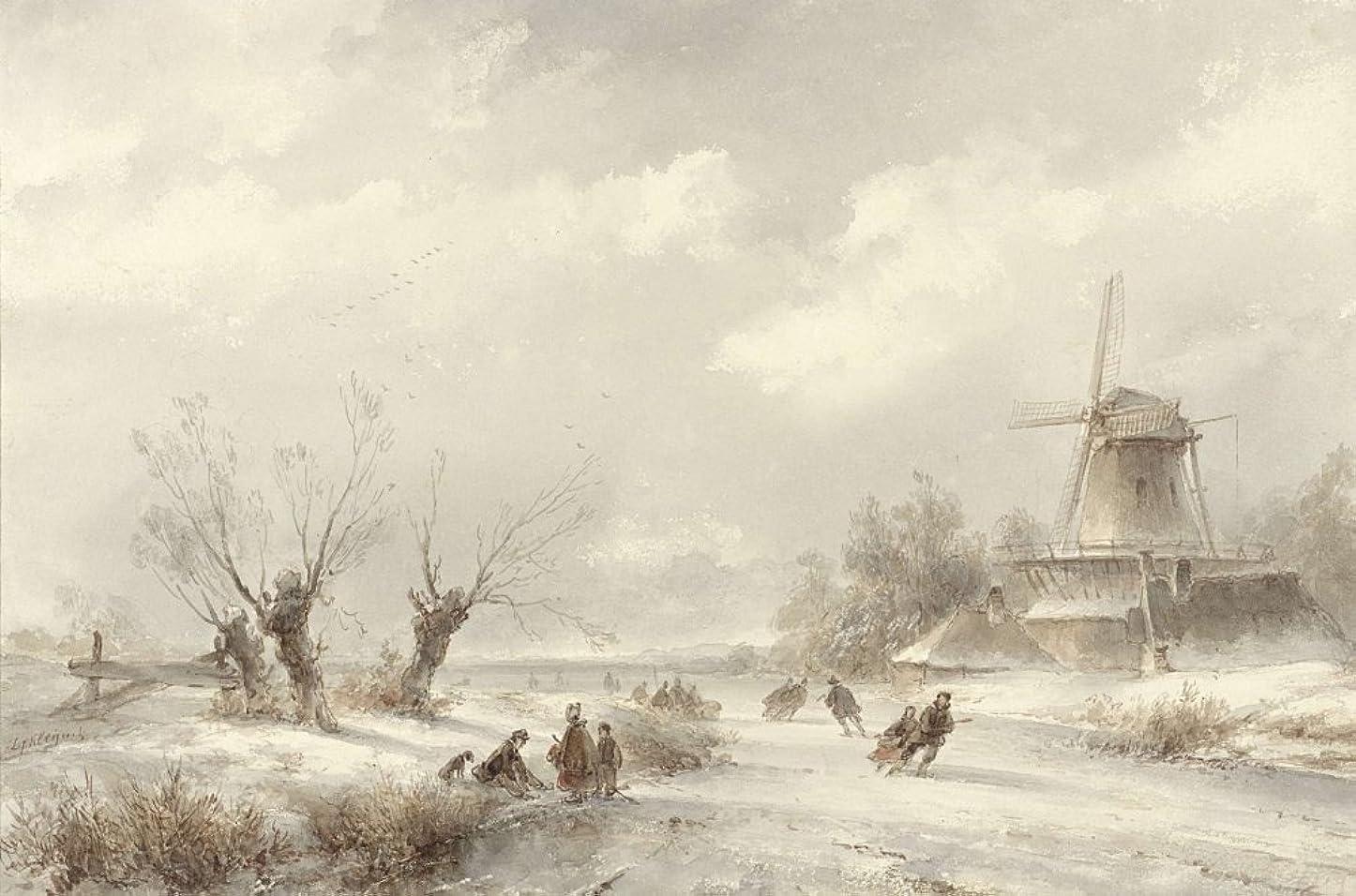 休日どう?羊のPosterazzi EVCHISL041EC898HLARGE ポスター Lodewijk Johannes Kleijn C. 1850-90作 オランダ水彩画。 カップルと家族のアイススケート(Bsloc_2016_2_4)、(36 x 24)