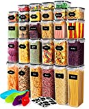 28 Pack Airtight Food Storage Container Set, Pantry kitchen organization and Storage, BPA Free Clear Plastic Storage Container with Lids, Kitchen Decor with Labels, Marker & Spoon Set