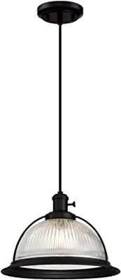 Westinghouse 6337300 One-Light Indoor Pendant with on/Off Turn Knob, Matte Black Finish and Clear Ribbed Glass