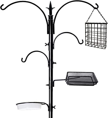 "yosager 91"" x 23"" Premium Bird Feeding Station Kit, Bird Feeder Pole Wild Bird Feeder Hanging Kit with Metal Suet Feeder Bird"