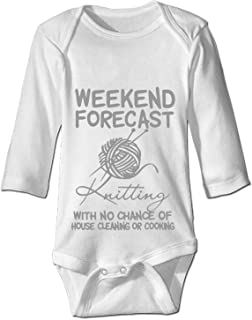 YPZOOS Funny Gift Baby Bodysuit One Piece Weekend Forecast Knitting