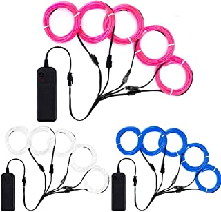 TGHCP Neon EL Wire Lights Light Up Glowing Electroluminescent Wire Kits with Battery Pack(3 Pack,5 by 1Meter,White,Blue,Pink).