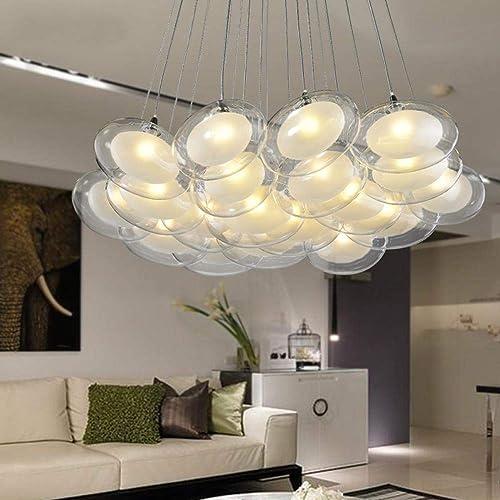 Après balle moderne en verre ellipse oeuf cygne luminaire suspendu déco maison bricolage créatif G4 verre à double pont pendentif ampoule LED lam, dimmable lumière blanche, simple boule   2022
