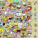 YUHANG Dibujos Animados Bob Esponja Casco Maleta Taza de Agua monopatín Coche eléctrico Cuaderno Dibujos Animados Impermeable Pegatina 50 Uds
