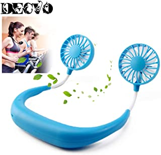 Hand Free Personal Fan - Portable USB Battery Rechargeable Mini Fan - Headphone Design Wearable Neckband Fan Necklance Fan Cooler Fan with Dual Wind Head for Traveling Outdoor Office Room (Blue)