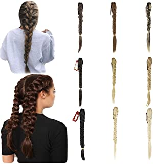 Womens Long Straight Fishtail Braids Ponytail Clip in Rope Hair Braid Wigs Hair Extension